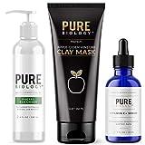 Pure Biology Premium Facial Cleanser, ACV Charcoal Clay Mask & Vitamin C Serum (1 oz)