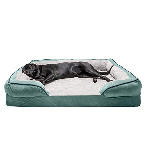 Furhaven Pet Dog Bed - Cooling Gel Memory Foam Velvet Waves Perfect Comfort Traditional Sofa-Style Living Room Couch Pet Bed with Removable Cover for Dogs and Cats, Celadon Green, Jumbo Plus