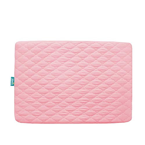 "Pack n Play Mattress Pad Cover, Ultra Soft Waterproof Playard Sheet Mini Crib Sheet Quilted 39"" x 27"" fits for Baby Foldable and Playard Mattress, Portable Mini Crib, Pink"