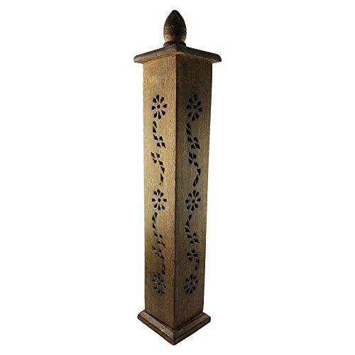 Golden Damascus Incense Tower/Wooden Cone & Stick Burner/Carved Wood Hol