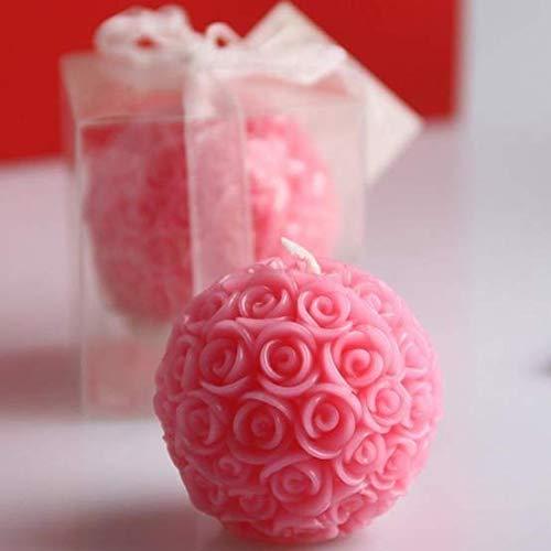 LXP Vela romántica Especial de la Flor Vela en Forma de Bola de Rosa para Decoraciones de Boda de Fiesta de cumpleaños