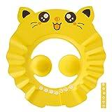 harupink Duschhaube Kinder,Baby Shampoo Cap Kinder Wasserdichter Schutz Badekappen Augenschutz Wasserdicht Cap für Kleinkind Babypflege Einstellbare Weiche Kappe (gelb)