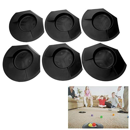 6 Pieces All-Direction Putter Cups Practice Black Golf Putting Cup Golf Training Cup Golf Practicing Hole Putting Aid Putter Training Aid Fit for Beginner Golf Training Accessory Indoors & Outdoors