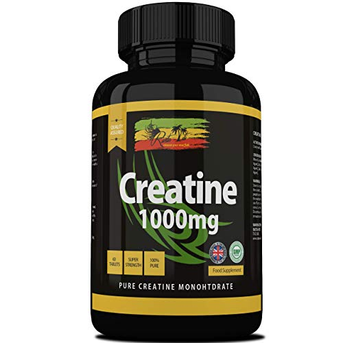 Creatine Monohydrate Tablets - Strong 1000mg Muscle Growth Supplement - Vegetarian & Vegan Workout Formulation - Manufactured in The UK and GMP Certified