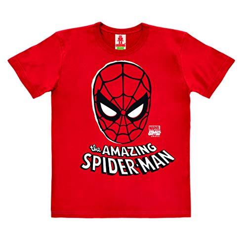 Logoshirt - Marvel Comics - Spider-Man - Máscara - Camiseta 100% algodón ecológico para niño - Rojo - Diseño Original con Licencia, Taglia 104, 3-4 años
