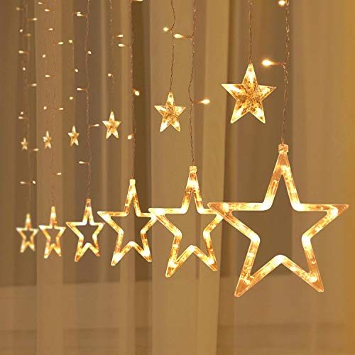 2Packs 12Stars 138LED Window Curtain String Lights Fairy Lights 8 Flashing Modes Decoration Remote Control for Christmas Home Holiday Festival Party Wedding Bedroom Indoor Outdoor Decor (Warm White)