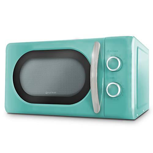Grunkel - Microondas Digital de 20l de Capacidad con diseño Vintage y 6 Niveles de Potencia. Función cocción rápida y Temporizador hasta 60 min - 700W (Azul, Mecánico)