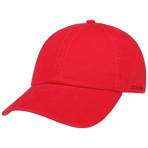 Stetson Rector Basecap - Cap für Damen/Herren - Sonnenschutz-Cap aus Baumwolle (UV-Schutz 40+) - Baumwollcap größenverstellbar (55-60 cm) - Baseballcap Sommer/Winter rot One Size