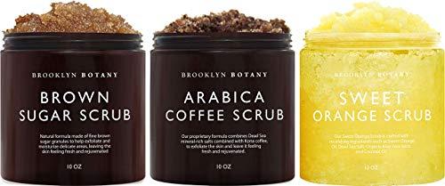 Brooklyn Botany Brown Sugar Body Scrub, Coffee Scrub and Sweet Orange Body Scrub – Exfoliating Body Scrub – Anti Cellulite Scrub Helps Fight Stretch Marks, Cellulite, Veins, and Eczema –Gift for Women