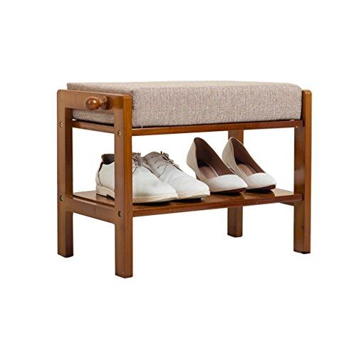 2 niveaux de Tabouret de pied rembourré Repose-pieds en bois Retro stockage antipoussière couloir Stand banc de chaussures avec Crochet Lin Tissu siège coussin Heavy Duty Max.250 kg 50x30x38cm