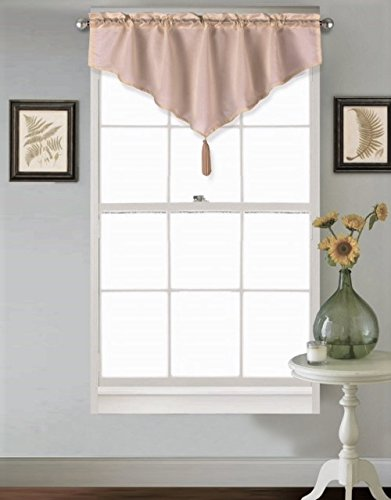 """GorgeousHome (VINCE) TAUPE TAN 1PC Solid Faux Silk Versatile Multi Use Luxury Rod Pocket Ascot Small Window Valance Topper Waterfall Treatment w/ FringesTassels 40""""W X 24""""L"""