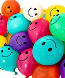 Peachy Party Smile Water Balloons - Pack of 50 multicolor emoji balloons. Brightly colored water balloons in small balloons size for pool party fun! Summer pool games for kids & adults.