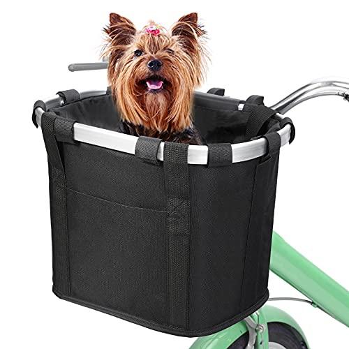 MoKo Cesta de Bicicleta Plegable Adulto, Bolsa Delantera Manillar Paño Oxford Frontal Desmontable Canasta para Perros Compras Picnic Viajes Porta Mascotas Aleación Aluminio con Cierre Cordón, Negro