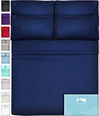 DREAMCARE 6 Piece Deep Pocket Sheets Microfiber Sheets Bed Sheets Bedding Sets Queen Size, Navy Blue