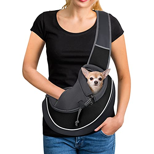 YUDODO Pet Dog Sling Carrier Mesh Hand Free Adjustable Dog Satchel Carrier Bag Papoose Crossbody for Small Medium Dog Cat Rabbit (S(up to 5 lbs), Black)