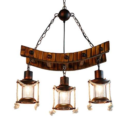 miwaimao Lámpara de techo colgante de bambú y metal, estilo rústico, industrial, Edison colgante, luz para comedor, vintage, 3 luces, color marrón