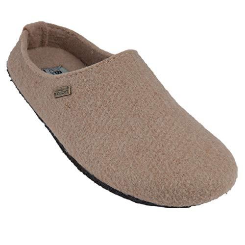 BIOSOFT Lady Cosy Damen Woll-Filz Slipper Pantoffeln Frauen Freizeit Hausschuh | Schlüpfschuh | Pantolette | Schlappen | Hüttenschuh - Gr. 37-41 - 37 beige/Light Brown