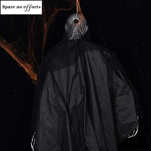 WSJDE 2 Meter großer Riese Spooky Standing Ghost mit leuchtenden Augen für Horror Hunted House Halloween-Dekorationen
