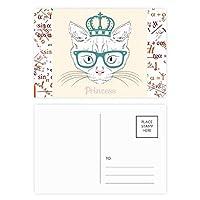 クラウン・サングラスの白い猫姫 公式ポストカードセットサンクスカード郵送側20個