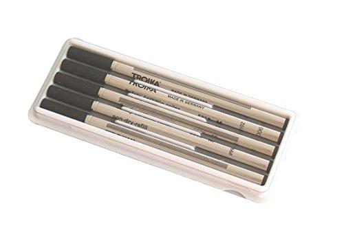 Troika Ersatzminen für Tintenroller, 5er Pack, Made in Germany, schnelltrocknend, Strichstärke M, Keramikkugel, Metall, schwarz