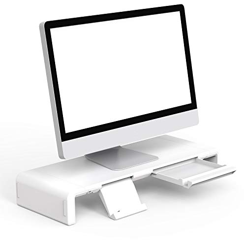 Klearlook Foldable Monitor Stand Built in Storage Drawer Tablet&Phone Stand Holder, Width Adjustable Desktop Monitor Screen Riser,Anti-Slip Monitor Mount for Computer/Printer/Laptops/TV-White