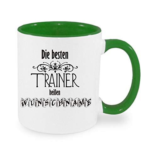 Crealuxe (Wunschname) die besten Trainer heißen - Kaffeetasse mit Motiv, Bedruckte Tasse mit Sprüchen oder Bildern