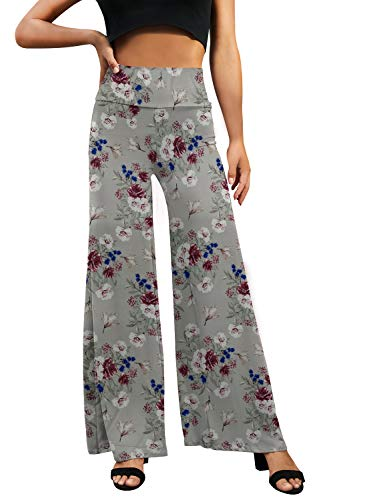 Doublju Women#039s Basic Comfy High Waist Wide Loose Leg Yoga Pajama Pants TAUPEFLORAL Medium