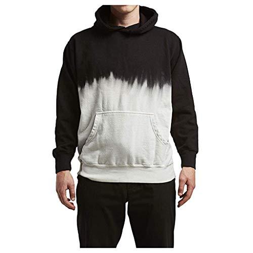 Bravetoshop Men's Simple Black and White Hoodies Sweater Fashion Long Sleeved Pullover Sweatshirt(Black,XL)