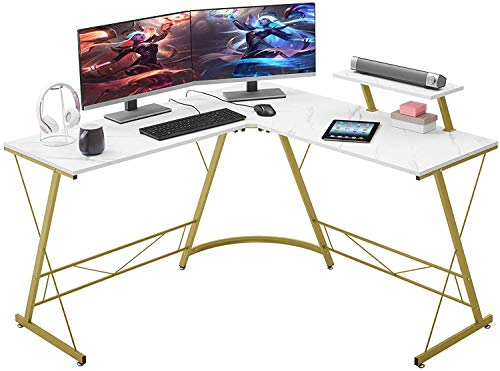 """ASTRIX L-Shaped Desk 50.8"""" Computer Corner Desk, Home Gaming Desk, Office Writing Workstation with Large Monitor Stand, Space-Saving, Easy to Assemble(Laminate Marble)"""