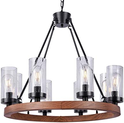 Wellmet 8 Light Farmhouse Chandeliers for Dining Room 30 inch Rustic Wagon Wheel Chandelier product image