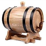Barril de Roble Barril de Whisky 1.5L, Barril de Vino de Roble Vitrina de Vino Cubo de Decoración de Restaurante de Bar Adecuado para Almacenar Vino Whisky Agave Vino, cerveza, sidra, whisky.