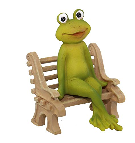 Frosch auf Bank Kantenhocker Froschfigur Dekofrosch Froschdekofigur Gartenfigur