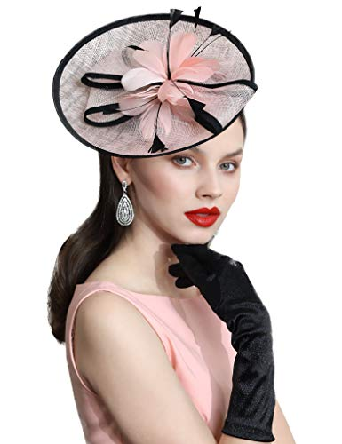 Coucoland Fascinators Hut Damen Elegant Feder Fascinator Haarreif für Hochzeit Cocktail Tee Party Derby Haar Kopf Accessoires Damen Karneval Fasching Kostüm Zubehör (Pink)