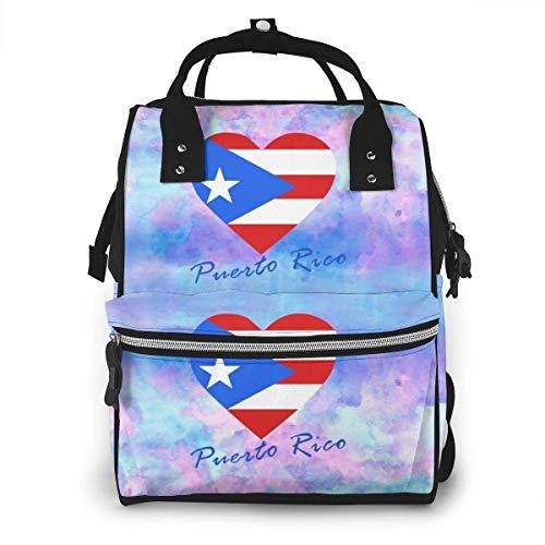 Puerto Rico Vlag Hart Grote Capaciteit Multifunctionele Mummy Rugzak Grote Capaciteit Landscap Licht Baby Luier Tassen