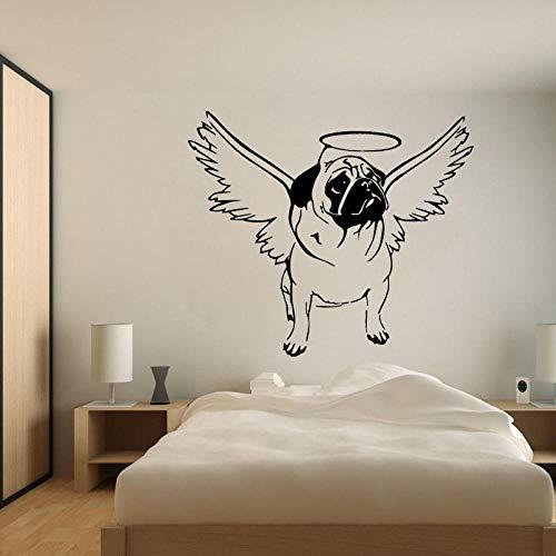 66CM*56.7CM Knuffel Hond Halo Engel Vleugels Leuke PVC Muurstickers Decal Decor voor Slaapkamer