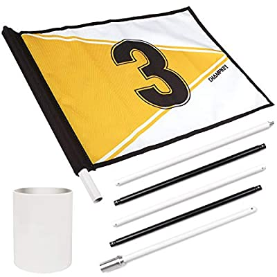 Champkey PRO 6.6' Golf Pin Flag - Premium Canvas with Heavy Duty Metal Poles Golf Putting Green Flag Ideal for Backyard and Driving Range (No.3 Yellow)