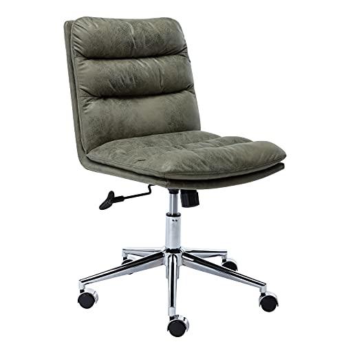 Wahson - Silla de oficina de piel giratoria con cojín grueso, silla de trabajo sin brazos, altura ajustable para el hogar y la oficina (verde)