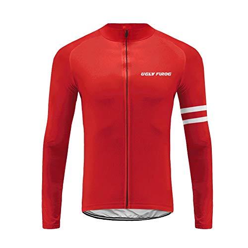 Uglyfrog Herren Thermo Funktions Fahrradtrikot Langarm Pro Line - Radtrikot Radshirt Fahrradshirt Fahrradbekleidung - Warm - Winter - Reflektierend DEHWCX04