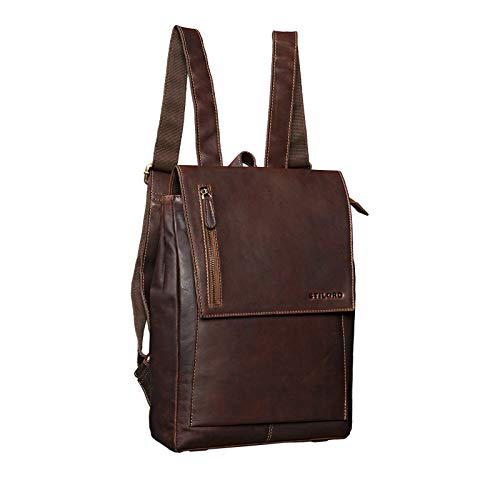 STILORD 'Simon' Daypack Leather Vintage Men Women Backpack Large for Business University School A4 13 inch MacBook Satchel in Genuine Buffalo Leather, Colour:Cognac Dark Brown