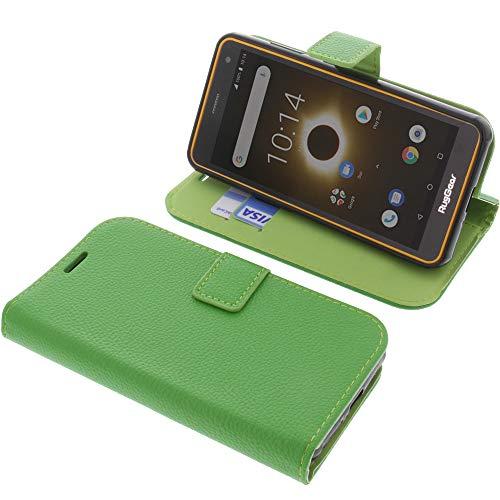 foto-kontor Tasche für Ruggear RG650 Book Style grün Schutz Hülle Buch