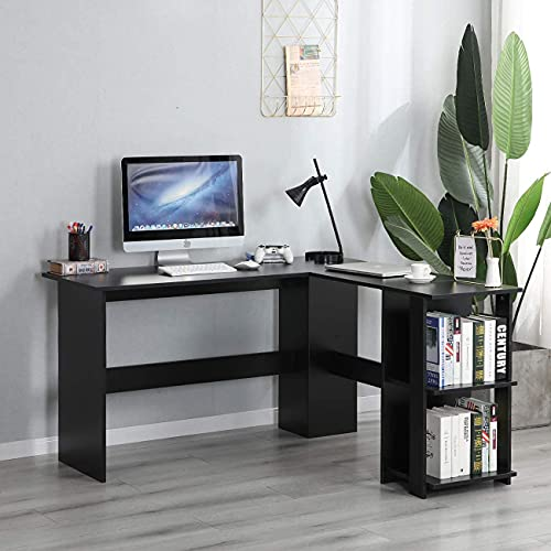 sogesfurniture Mesa de Ordenador Escritorio de Esquina en Forma de L, 136 x 130cm PC Escritorio de Oficina, Mesa de Estudio, Estación de Trabajo con 2 Estantes, Negro BHEU-XTD-SC01-BK