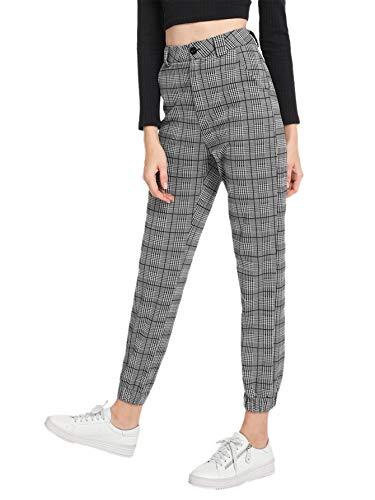 Milumia Women's Casual Mid Waist Plaid Button Pants Trousers Grey Medium