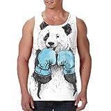 YongColer Men's Boxing Panda White Graphic Tank Top
