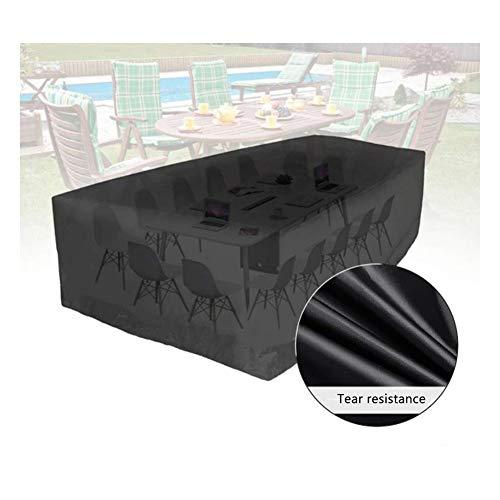 AWSAD Rattan-Möbel-Abdeckungen Rechteck Staubdicht Frostschutzmittel Schneeschutz Draussen Sofa Abdeckung Gartenmöbel, 30 Größe (Color : Schwarz, Size : 290x160x90cm)