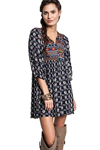 Umgee Womens Bohemian Tunic or Dress (Medium, Navy)