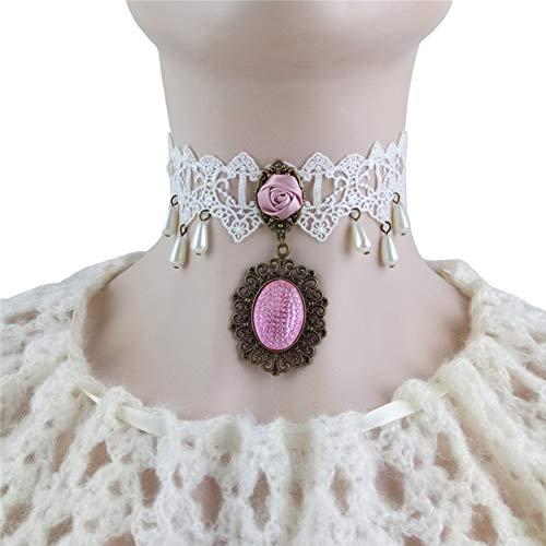 NICEWL Frauen Gothic Weiße Spitze Halskette,Simulationsperle Anhänger Viktorianischen Spitze Choker,Schlüsselbein Kurze Hals Kette Kostüme Dekoration Schmuck
