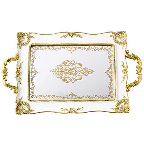 Bandejas para servir SMEJS Bandeja de espejo retro Pastelería Cosméticos Bandeja de joyería Decoración Bandeja francesa (41 * 25cm) Bandeja