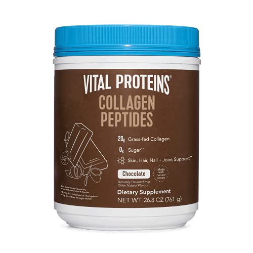 Vital Proteins Chocolate Collagen Powder Supplement (Type I, III) for Skin Hair Nail Joint - Hydrolyzed Collagen - Dairy & Gluten Free - 27g per Serving - Chocolate Flavor, 26.8 oz Canister