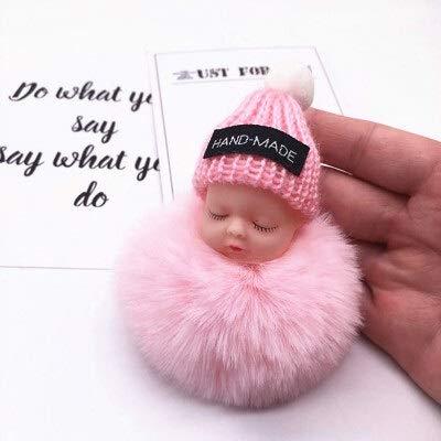 XKMY Muñecas de moda colorida muñeca de dormir colgante pieza bola de pelo colgante lindo pompón cadena de algodón titular bolsa bola juguete (color: rosa)