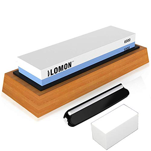 Whetstone Knife Sharpening Stone Set, Pebble Premium Water stone | 1000/6000 Grit Knife Sharpener Stone - Non Slip Bamboo Base - Angle Guide - Flattening Stone | Best Gift Polishing Tool for Kitchen